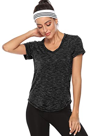 5daaacb663cf Amoretu Womens Casual Tee Shirts Short Sleeve Workout Summer Blouses Tops( Black,S)
