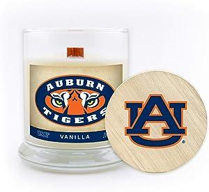 Worthy Promo NCAA Auburn Tigers 8 oz Vanilla Scented Soy Wax Candle, Wood Wick and Lid