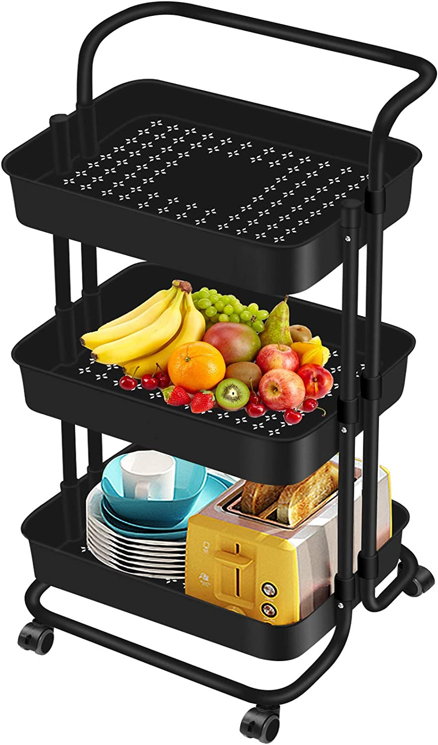 AROVA 3 Tier Rolling Cart, Premium Rolling Storage Cart for Office, Rolling Utility Cart with Wheels for Home Storage Organization, as Craft Cart & Art Cart (Black)