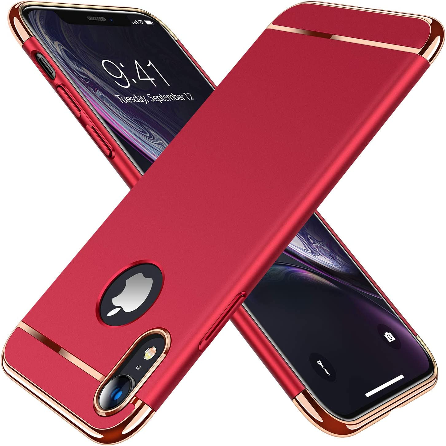 TORRAS Lock Series iPhone XR Case, 3-in-1 Luxury Hybrid Hard Plastic with Gold Trim Matte Finish Slim Thin Phone Case for iPhone XR 6.1 inches, Red