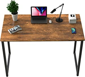 "BOSSIN Computer Desk Table 39"" Study Writing Table for Home Office,Modern Sturdy Office Desk for Small Spaces,Black and Brown (Rustic Brown)"