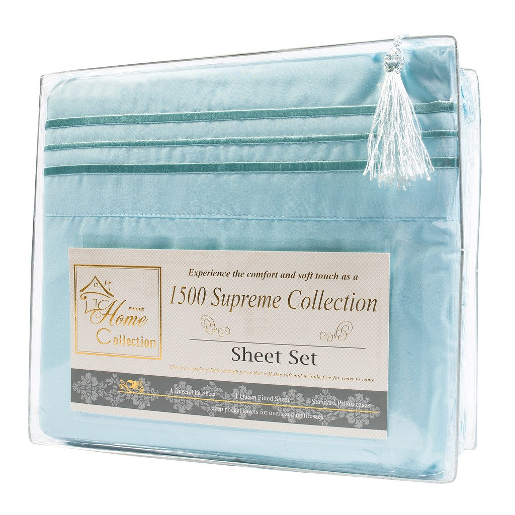 1500 Supreme Collection Extra Soft King Sheets Set, Light Blue - Luxury Bed Sheets Set With Deep Pocket Wrinkle Free Hypoallergenic Bedding, Over 40 Colors, King Size, Light Blue by Sweet Home Collection (Image #6)