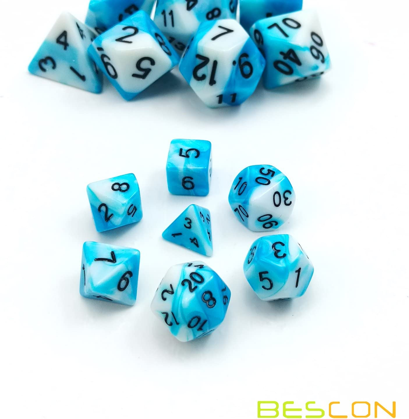 Mini ICY Track Bescon Mini Gemini Two Tone Polyhedral RPG Dice Set 10MM Small Mini RPG Role Playing Game Dice D4-D20 in Tube