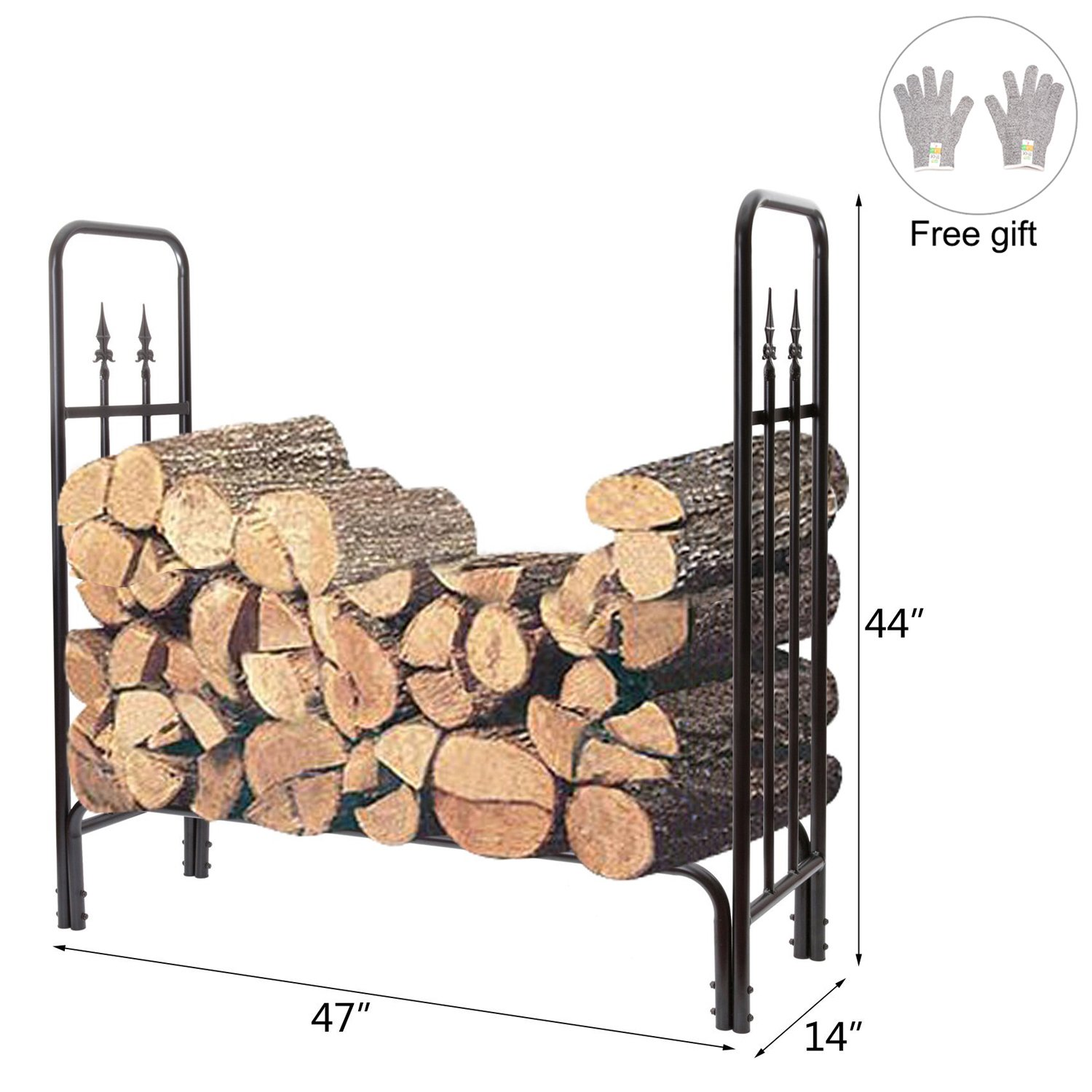 HollyHOME 4 Feet Heavy Duty Indoor/Outdoor Decorative Firewood Racks Steel Wood Storage Log Rack Holder, 900 Pound Weight Capacity
