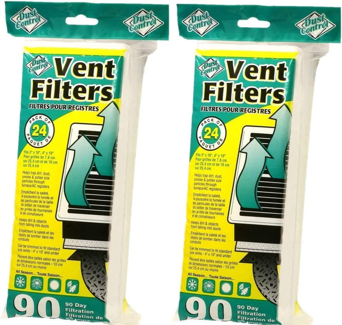 Dust Control Air Vent Filters - 48 Air Vent Filters for Home| Helps Trap Dirt, Dust, Smoke, Pollen Size Particles | Provides Fresh, Filtered Air | for Bathrooms, Bedrooms, Kitchen, Family Rooms