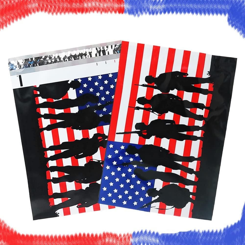 10 Red White and Blue Flag Military Plastic Mailers Designer Shipping Bag Custom Boutique Envelopes 10x13 Solders Poly Mailers