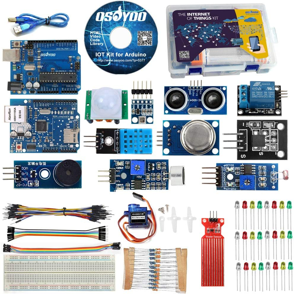 OSOYOO IoT Starter Kit for Arduino Iot Projects with Tutorial W5100 Ethertnet Shield,Android//iOS Remote Control Internet of Things Kits