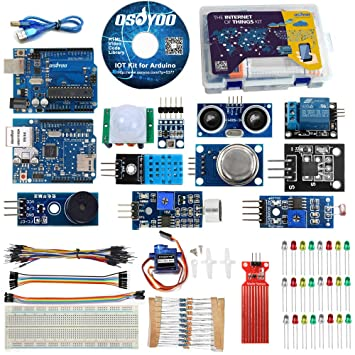 OSOYOO IoT Starter Kit for Arduino Iot Projects with Tutorial, W5100  Ethertnet Shield,Android/iOS Remote Control Internet of Things Kits