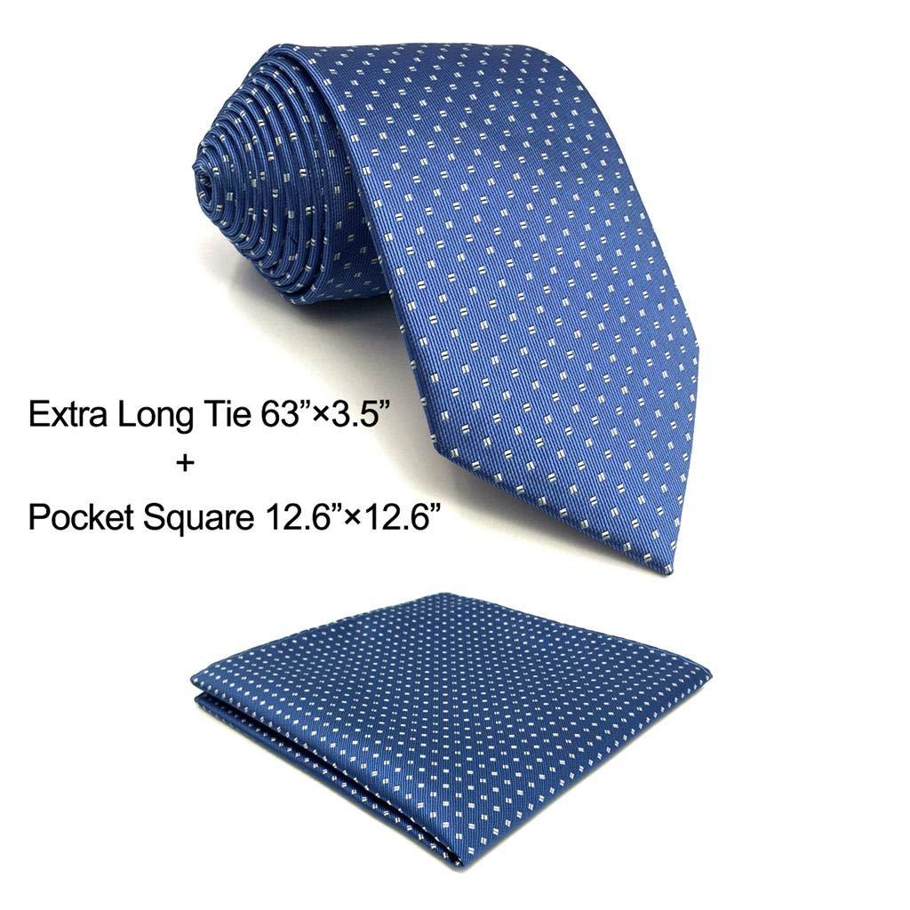 S/&W SHLAX/&WING Puntos Ties for Men Azul Necktie Set Nuevo Dise/ño with Handkerchief