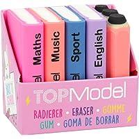 Depesche- TopModel - Gomas de borrar con Forma de Libro y bolígrafo, diseño de Perro, Color carbón (3942)