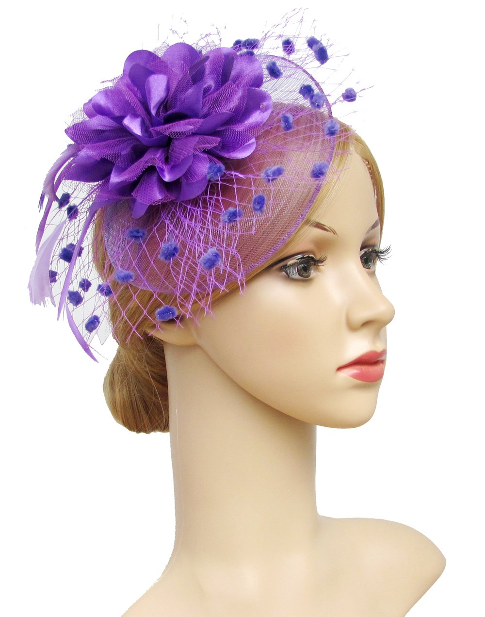 K.CLASSIC Fascinators Hats for Womens 50s Headwear with Veil Flower Cocktail Wedding Tea Party Hat
