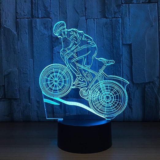 HNXDP Mountain Bike 3D Night Light Lámpara de ilusión 3D 7 Cambio ...