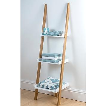 Kobe   3 Tier Bamboo Ladder Shelving Unit Bathroom Storage Wall Rack By  Showerdrape