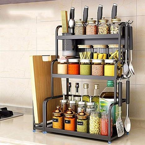 Carrito verdulero cocina Leqi Estante de cocina de acero ...