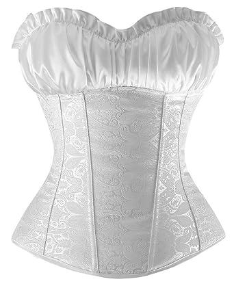 44a06b601e7 Charmian Women s Renaissance Bustier Wedding Bridal Top Lace Up Overbust Corset  White Small