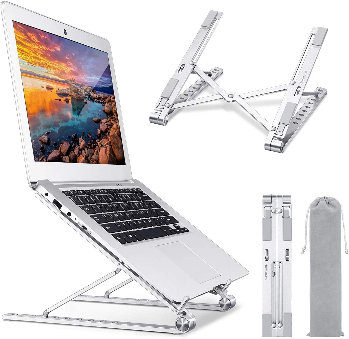 Homemaxs Laptop Stand for Desk, 【2020 Newest】Adjustable Height Computer Stand, Portable Aluminium Ergonomic Laptop Holder Riser Compatible with MacBook, iPad, HP, Dell, Lenovo More 10-17 Laptops