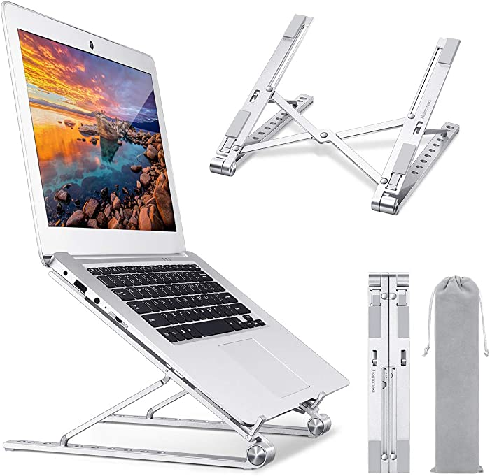 Homemaxs Laptop Stand for Desk, ?2020 Newest?Adjustable Height Computer Stand, Portable Aluminium Ergonomic Laptop Holder Riser Compatible with MacBook, iPad, HP, Dell, Lenovo More 10-17 Laptops