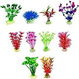 水族館の植物 人工水草 TOMIWANG 明るい色の水生植物エレガントな色と魚の装飾に最適な シリカセラミックスは より深い水タンクで安定しています 10 イン 1(2つのスタイルから選択する) (グリーン)