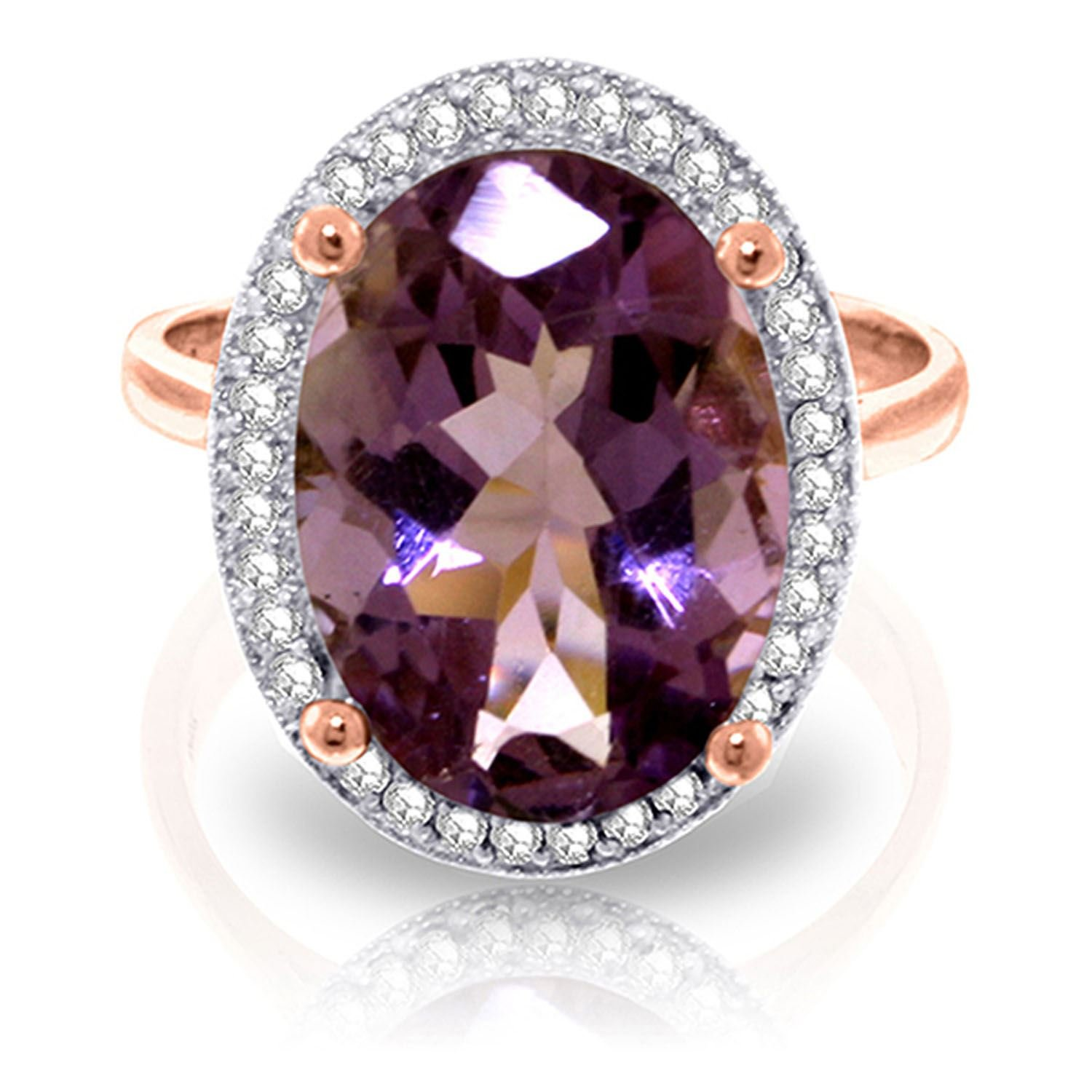ALARRI 5.28 Carat 14K Solid Rose Gold Loren Amethyst Diamond Ring With Ring Size 6