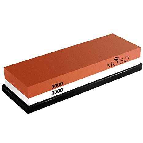 Piedra de afilar cuchillos MOISO 3000/8000 Grit Combination Waterstone Afilador - Soporte de goma para piedra incluido