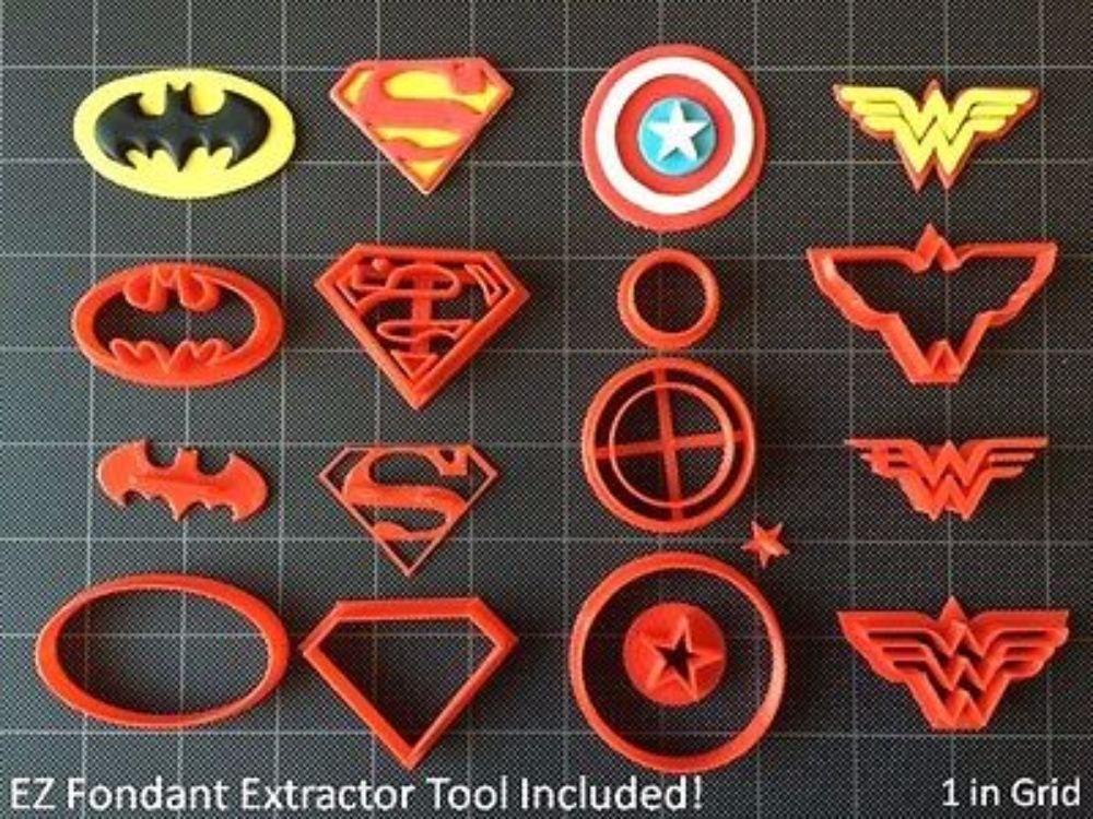 Super Hero Cookie Cutter (Set A) / Fondant Cutter / Cupcake Topper - (14pc Set) (4'')