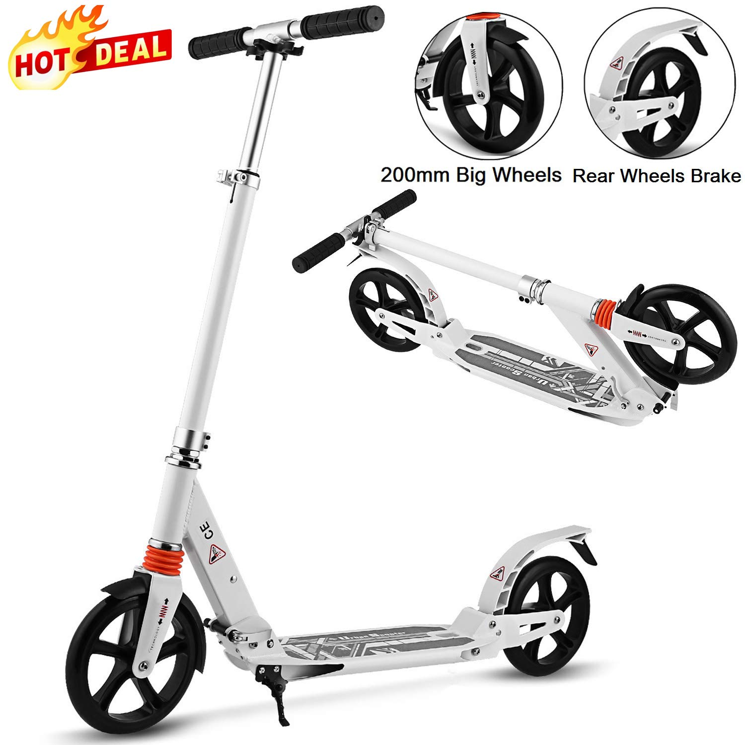 Aceshin Scooter for Adults/Teens/Kids, 200mm Big Wheels Scooter Easy Folding Lightweight Height Adjustable Rear Fender Brake Scooter Support 220lbs (White) by Aceshin