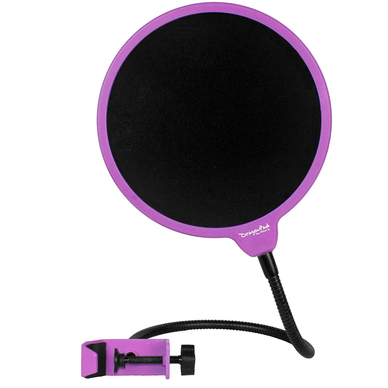 Dragonpad Pop Filter Studio Microphone Mic Wind Screen Pop Filter Swivel Mount 360 Flexible Gooseneck Holder, Framed White on Black DPD-POP-WTBK