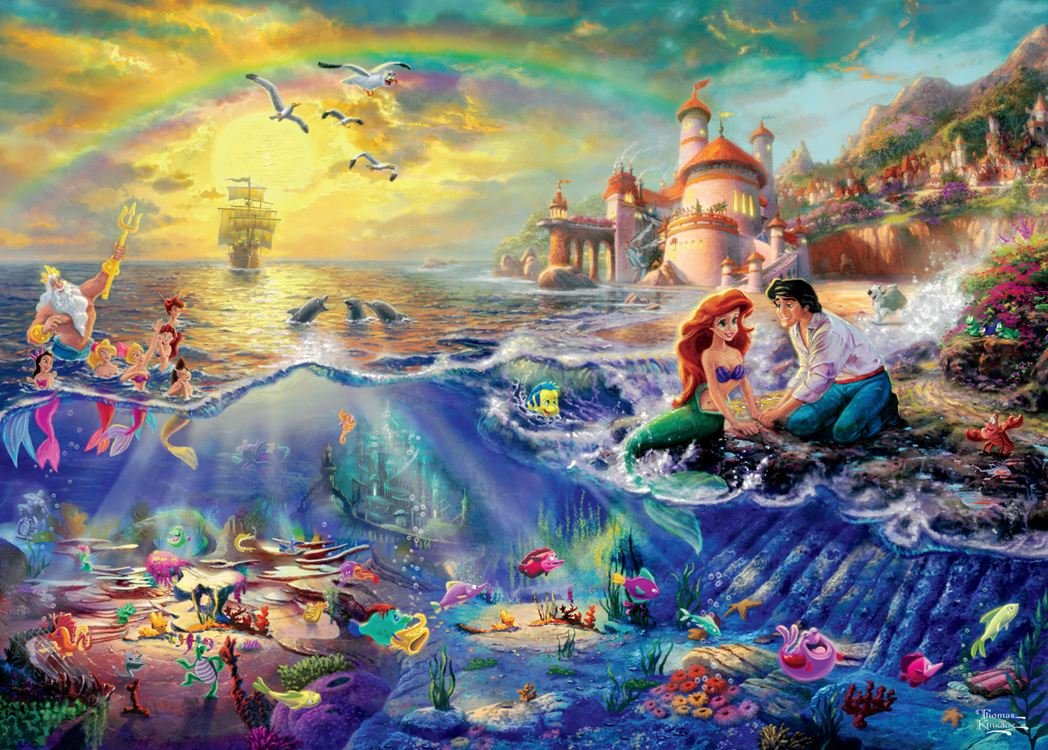 Ceaco Thomas Kinkade 4-in-1 Multi Pack Disney Puzzles (500 Piece) by Ceaco