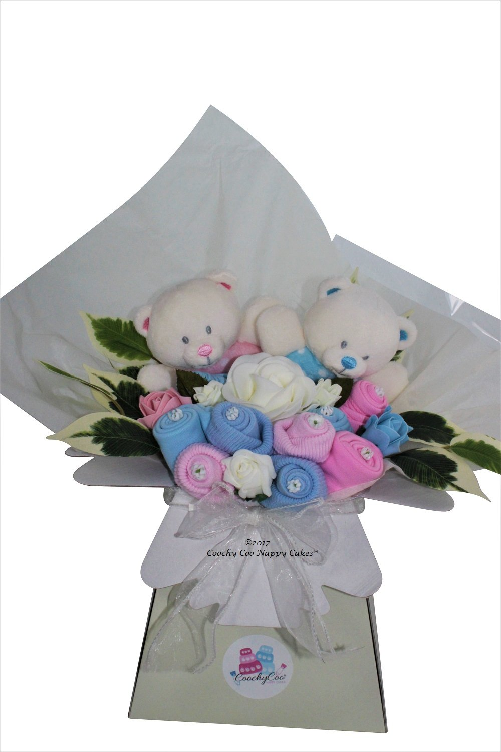 Twins baby girl and boy pink and blue clothes flowers bouquet FREE Delivery