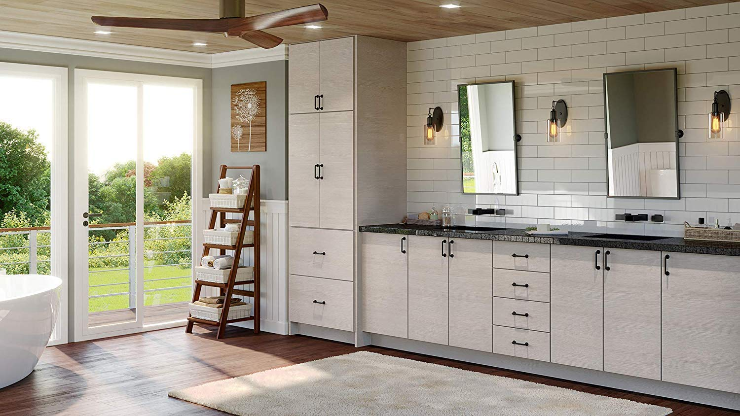 Modern Grey Wood Kitchen Cabinet Textured Woodgrain Frameless Construction Tall Single Oven Built in Cabinet