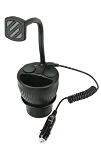 SCOSCHE MAGPCUP MagicMount PowerHub Magnetic Smartphone/GPS/Tablet Cup Holder Mount for The Car with Two USB Charging Ports and Two 12V Power Sockets