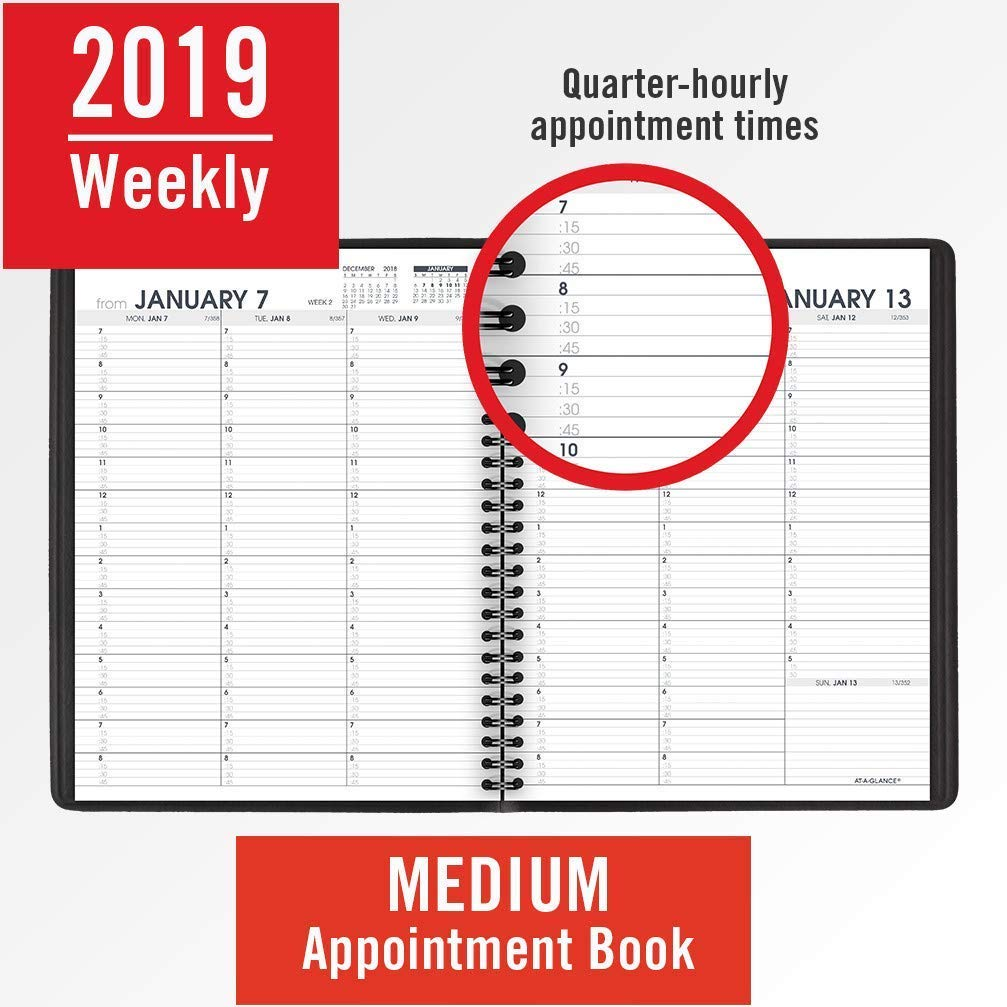 AT-A-GLANCE 2019 Weekly Appointment Books/Planners, 7'' x 8-3/4'', Medium, Black, 12 Pack (70951Z05) by AT-A-GLANCE (Image #3)