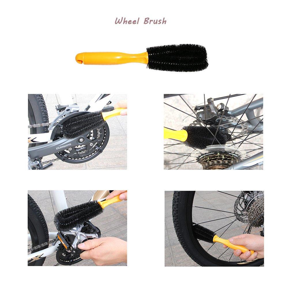 SHUGUAN Bicycle Cleaning Tool Kits 8 Pieces Bike Cleaning Toll Bike Chain Cleaner Tool Wheel Cleaner Brush Compact Multipurpose Practical for Mountain Hybrid City BMX Bike and Folding Bike Road