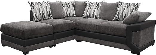 Louisiana Large Corner Sofa Suite Black/Grey (Left): Amazon ...