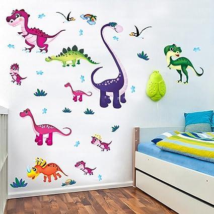 Cute Dinosaurios De Dibujos Animados Pegatinas De Pared Calcomanías De Pared Extraíbles De Vinilo Diy Para Cuarto De La Guardería Dormitorio De Los