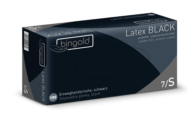 S Gants jetables en latex noir Poudre 10/x 100/Pcs 1000