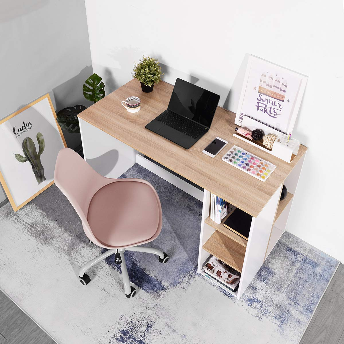 Coavas Office-Computer Desk with Storage, Study-Work Desk with 5 Shelves, Students-Writing Desk Home Laptop Study Table Modern Wood Hutch Large Workstation with Bookcase BREN11 /Beech and White by Coavas (Image #9)