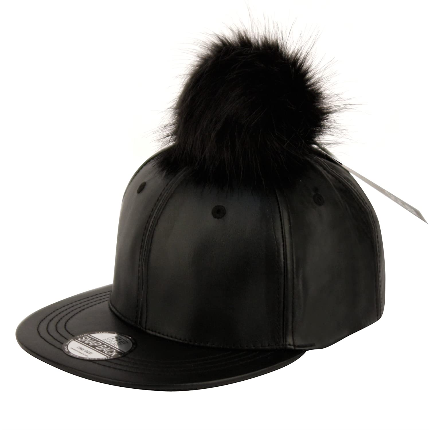 White baseball caps for crafts - Faux Leather Pom Pom With Snapback Baseball Cap At Amazon Men S Clothing Store