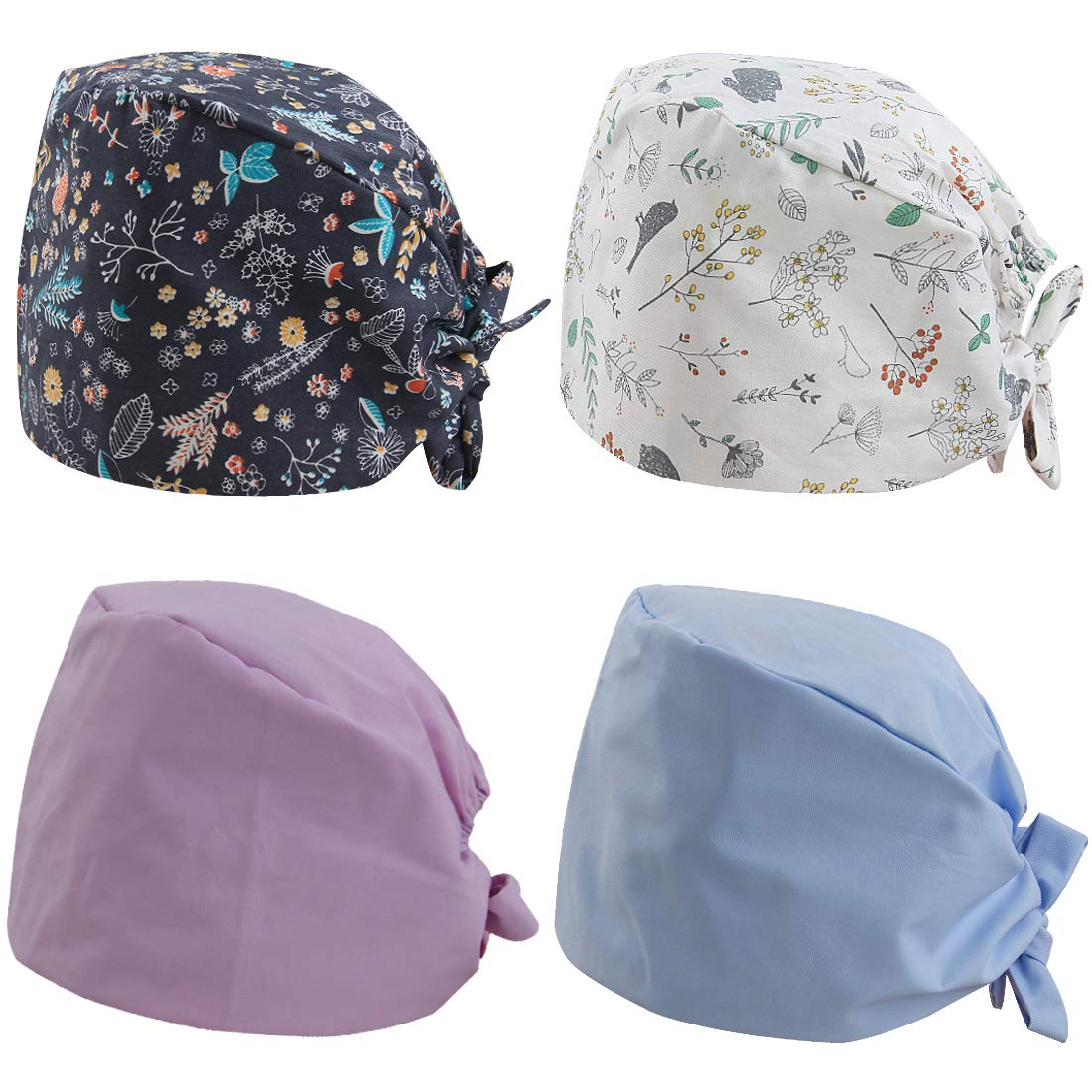 kilofly 4pc Women Men Adjustable Scrub Cap Sweatband Bouffant Hats Value Set by kilofly