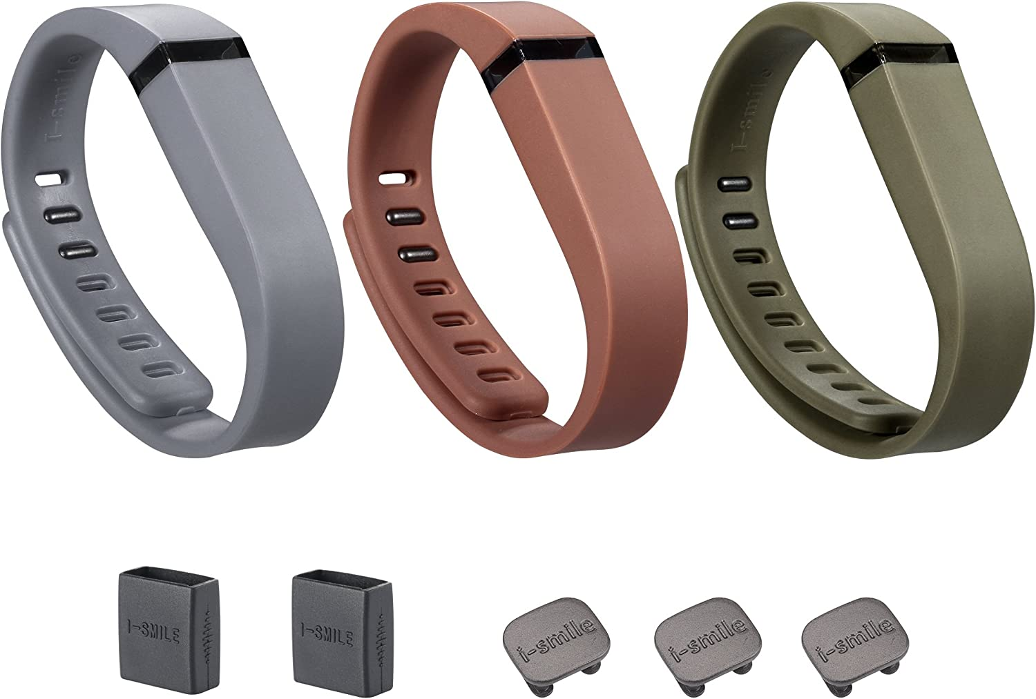 Set of 3 with 2 Piece Silicon Fastener Ring I-SMILE 3PCS Replacement Bands with Metal Clasps for Fitbit Flex