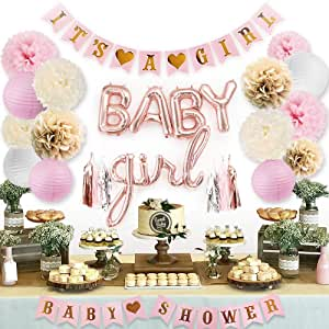 Sweet Baby Co. Pink Baby Shower Decorations for Girl with It's A Girl Banner, Baby Girl Letter Balloons, Flower Pom Poms, Paper Lanterns, Tassels (Rose Gold, Pink, Ivory, White Sprinkle Set)