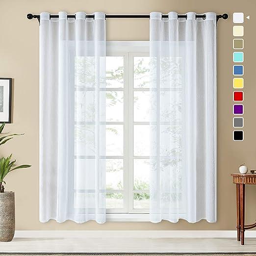 Topfinel 2 Piezas Modernas Visillos para Ventanas Cortinas Dormitorio con Ojales,140 x 245 cm,Blancas: Amazon.es: Hogar
