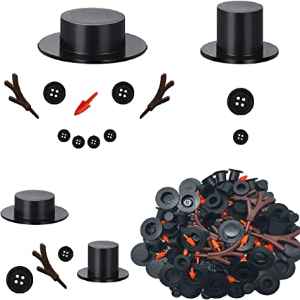 20pcs Carrot Noses Buttons 20pcs Mini Black Top Hats Plastic Magician Hats with 120pcs Tiny Buttons/& Hands for Christmas Crafting Sewing Party Supplies Cosweet 20 Sets Buttons for Snowman Crafts DIY