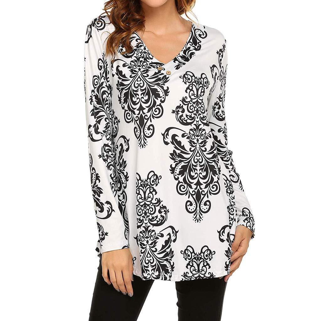 HULKAY Women's Paisley Printed Long Sleeve Henley V Neck Pleated Casual Fashion Flare Tunic Blouse Shirt(White 2,XL)