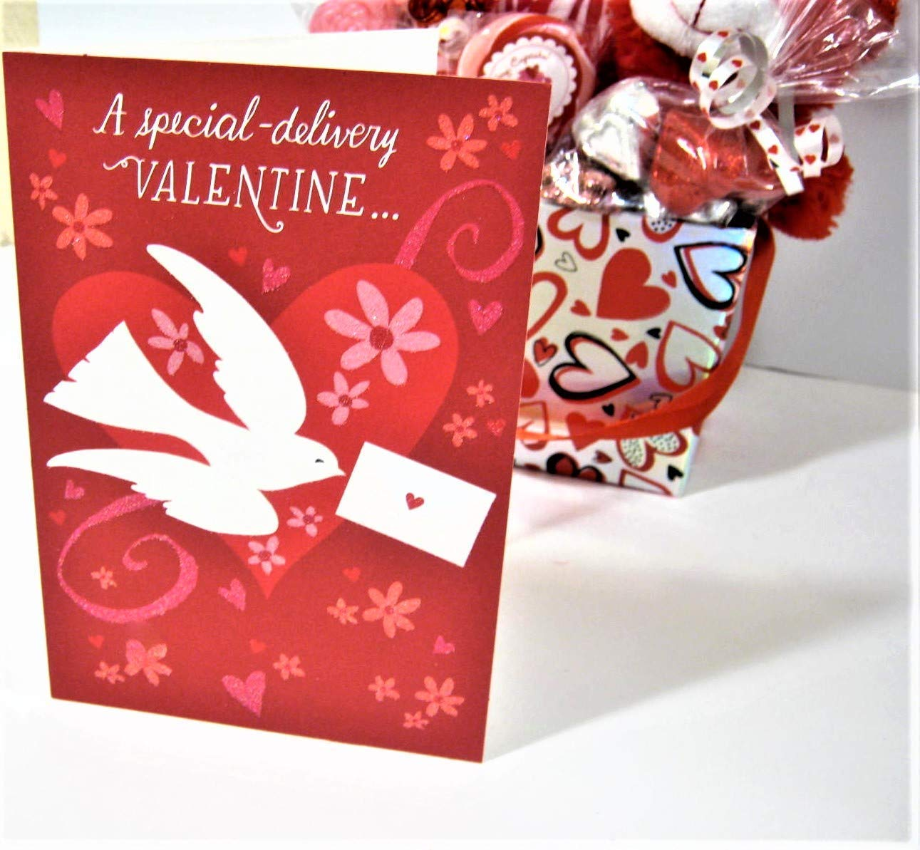Valentines Day Bear Gift Basket w//Chocolates Candy Bouquet Card Balloons Surprises !