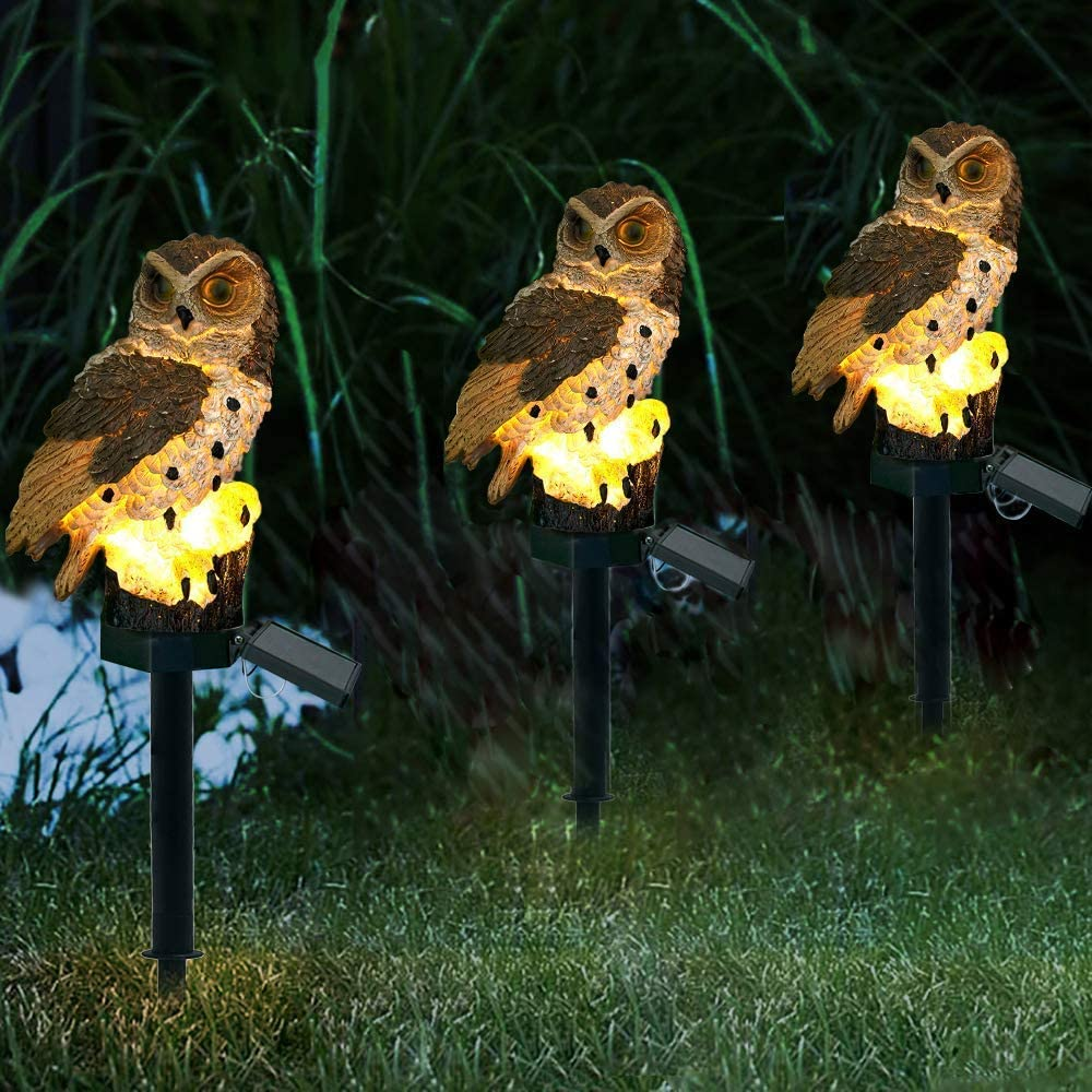 Heuluced Eule Solar Garten Licht Au/ßen LED Solarleuchten Garten Stecker Solarlampe f/ür Gehweg Braun Terrasse Solarleuchte f/ür Garten Au/ßendekoration Warmwei/ß 1 St/ück Hof Rasen