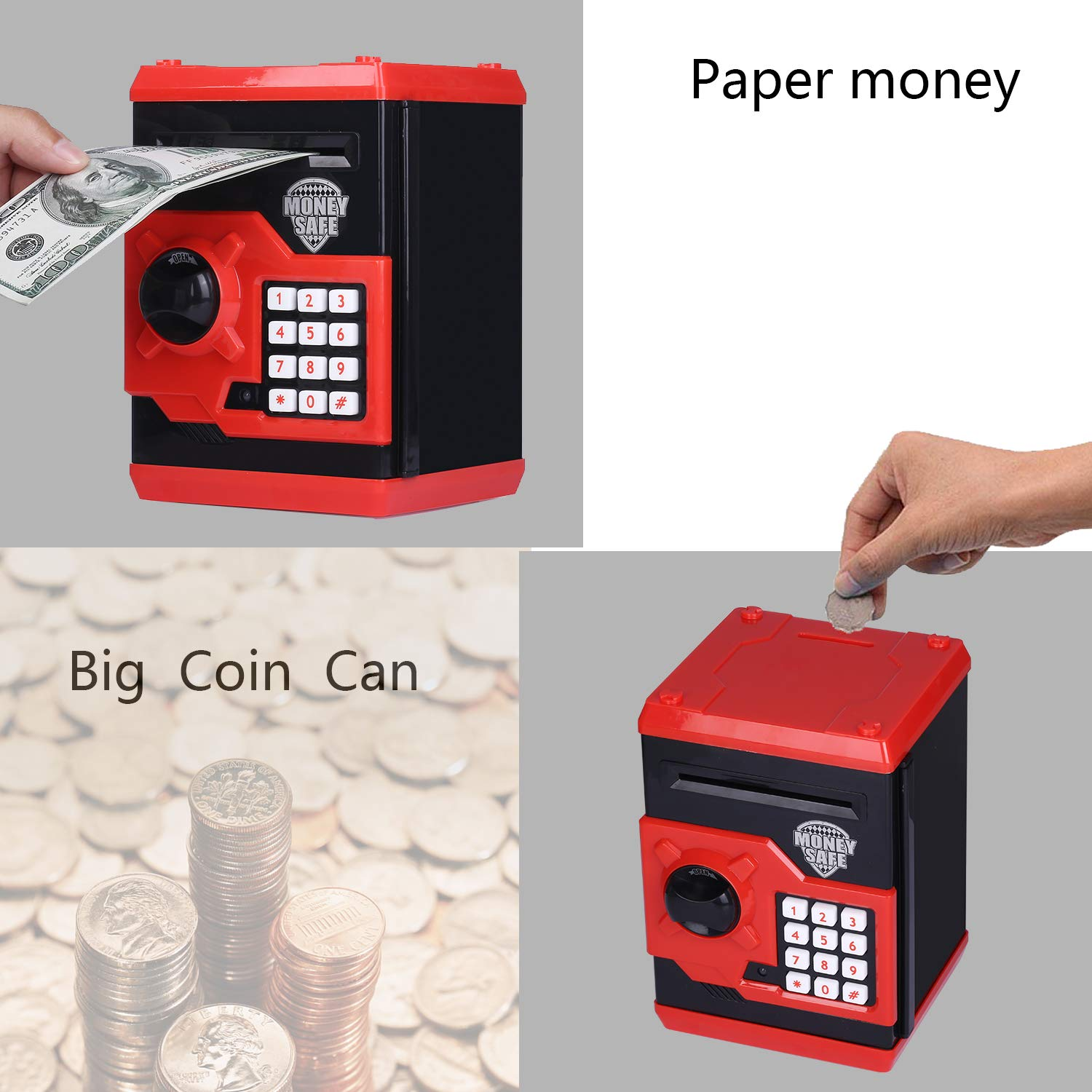 kingsida Electronic Password Piggy Bank Kids Safe Bank Mini ATM Electronic Money Save Box Cash Coin Can(Black and Red) by kingsida (Image #5)