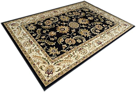 Traditional Area Rug Design Elegance 220 Black 8 Feet x 10 Feet 6 Inch