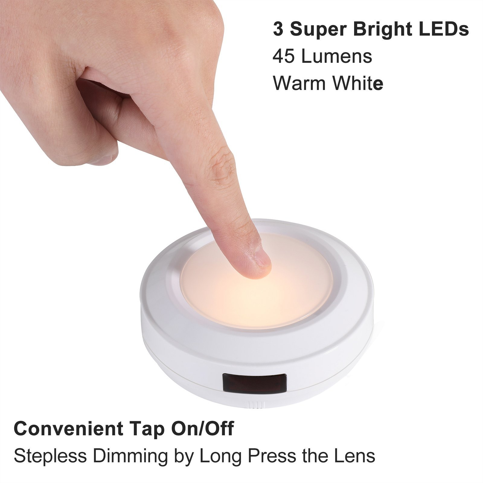 DEWENWILS LED Puck Light with Remote Control (Timer+ Dimmer) Power Failure Battery Operated Emergency Nightlight, Stick-on Anywhere for Hallway, Bathroom, Bedroom, Warm White, Pack of 4 by DEWENWILS (Image #2)