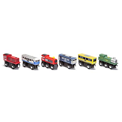 Maxim Enterprise Wooden Train Cars (6-Pc. Set) Rolling Locomotive Engines with Magnetic Links for Pulling Cars and Cabooses | Bridge and Track Use | Compatible with Thomas, BRIO, Melissa and Doug: Toys & Games
